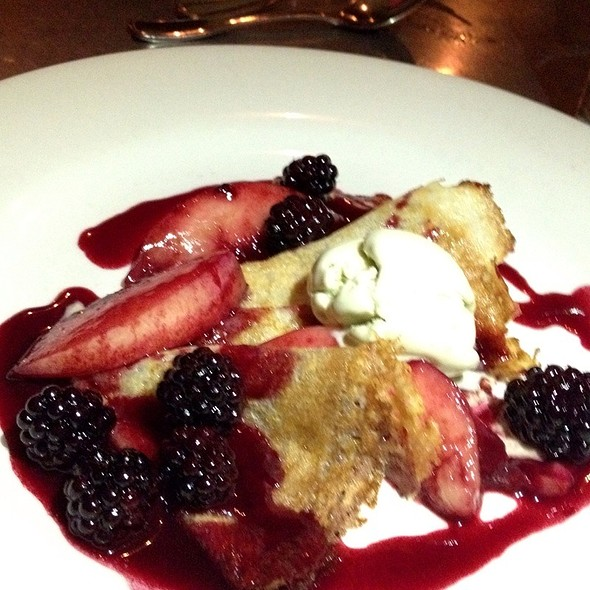 Cornmeal Crepes With Blackberries, Nectarine Ice Cream And Raspberries - Range, San Francisco, CA