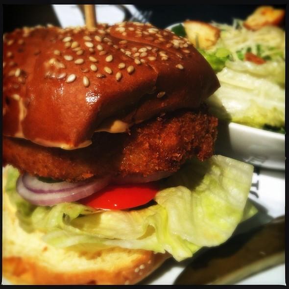 Dungeoness Crab And Halibut Cake Burger @ Bridges Restaurant