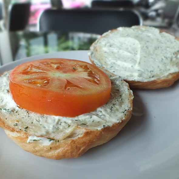 Bagel with garlic dill cream cheese @ The Bagel Cafe