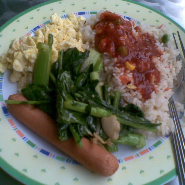 Fried Rice with Scrambled Eggs, Stir-Fried Vegetables and Chicken Sausage @ Selera Warisan Catering