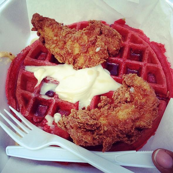 Buttermilk Fried Chicken & Red Velvet Waffles @ waffle boss food truck