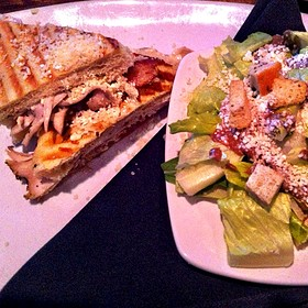 Home Smoked Turkey Panini & Caesar Salad
