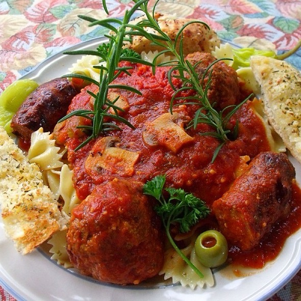 Pasta With Meatballs & Sausage & Mushrooms @ Jim B's Kitchen (home)