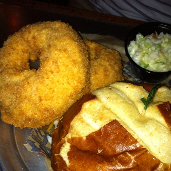 Burger and Onion Rings @ River City Cafe
