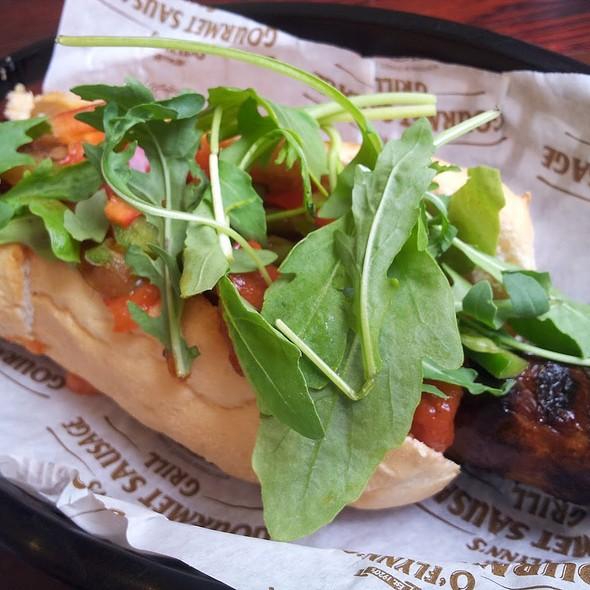 Foot long gourmet sausage sandwich at o flynns gourmet sausage company