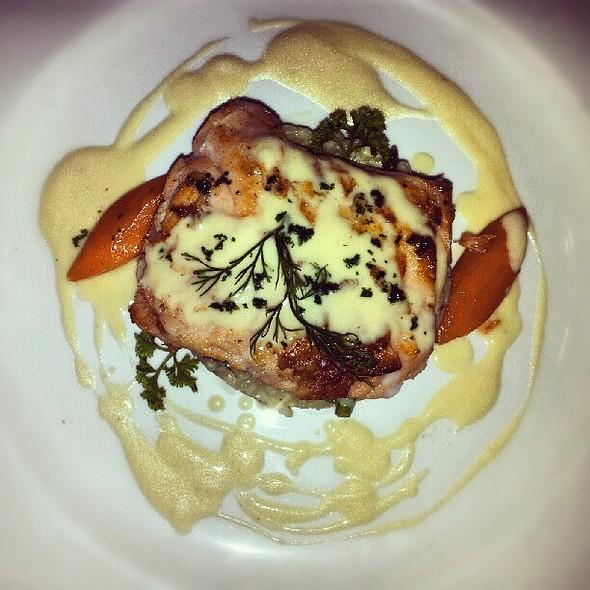 Pan seared salmon with cream sauce: yummy! @ Boheme