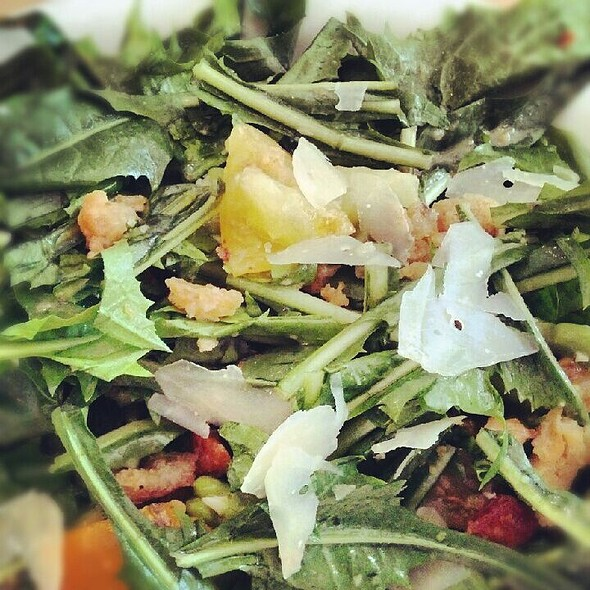 Dandelion Greens, Favas, Ewephoria Cheese, Rye Breadcrumbs, Lemon Vinaigrette. @ Mile End Delicatessen