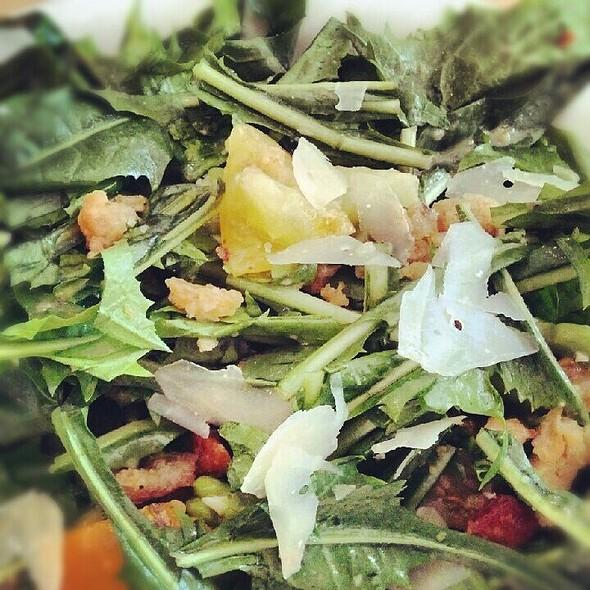 Dandelion Greens, Favas, Ewephoria Cheese, Rye Breadcrumbs, Lemon Vinaigrette. @ Mile End Delicatessen