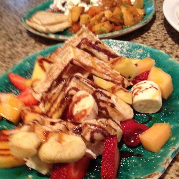 House Made Waffle Topped W/Fresh Fruit @ Chez Shea