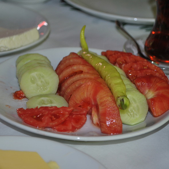 cucumber, tomatoes, green pepper @ Kadıefendi Restaurant
