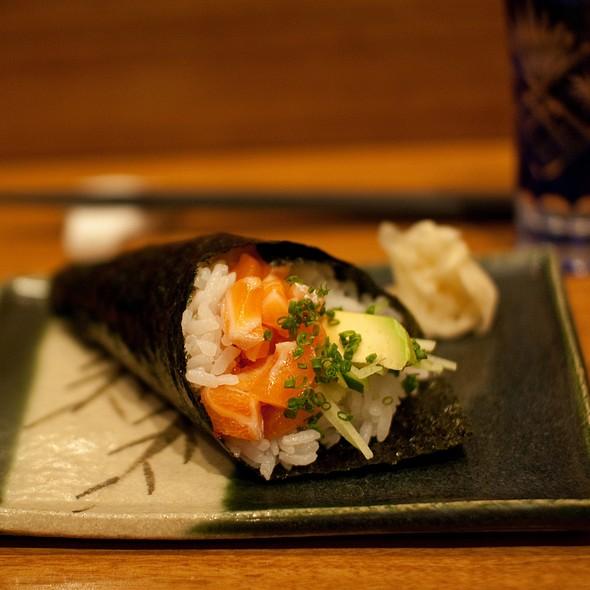Salmon, Tobiko, Avocado, Cucumber & Jalapeno Mayonnaise Hand Roll @ @! Restaurant