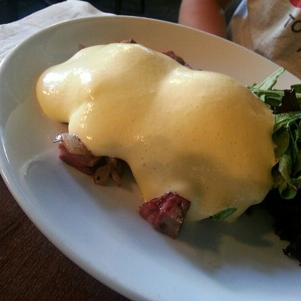Masa Cakes, Shaved Beef Tongue, Poached Eggs, Hollandaise