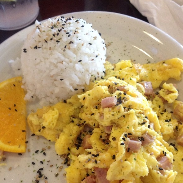 Scrambled Eggs with Spam and Fried Rice