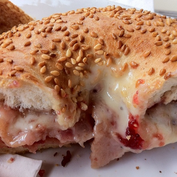 Brie, Bacon & Cranberry Bagel @ Poppyfields Sandwich Bar