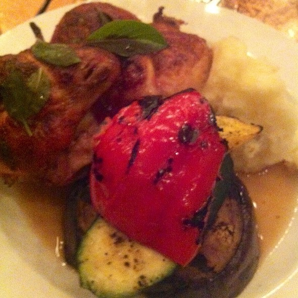 Rotisserie Chicken Grilled Veggies & Mashed Potatoes - Creo Restaurant, Albany, NY