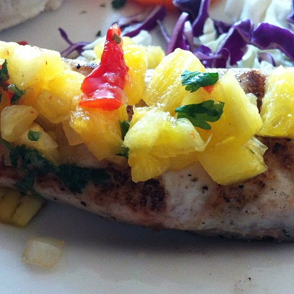 Kiawe wood grilled mahimahi with pineapple salsa