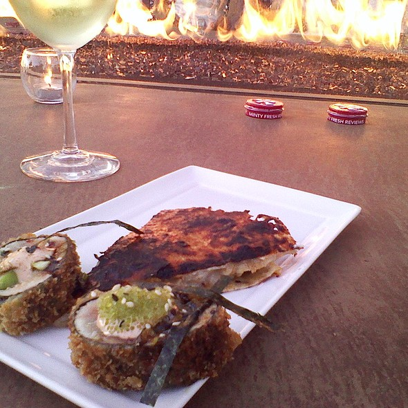 Quesadilla with vietnamese chili, beef and carmelized onion and hamachi roll @ Vintana Wine + Dine