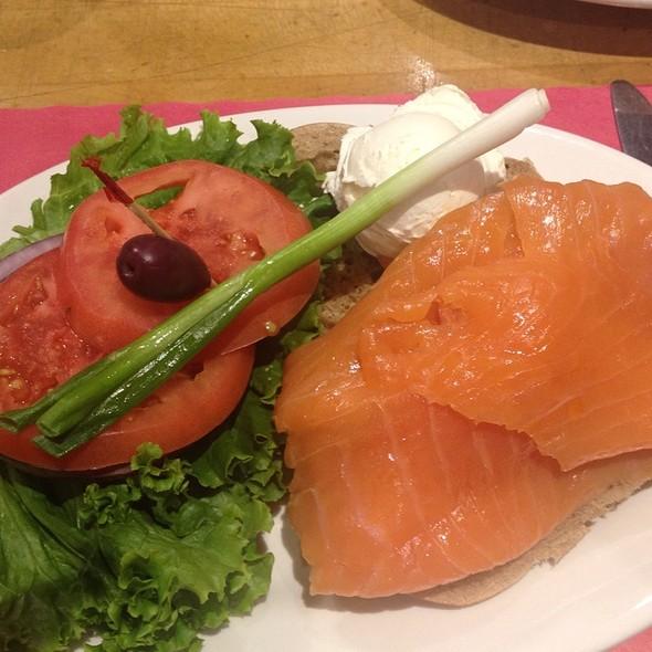 Hand-Sliced Nova Scotia Salmon On Bagel @ Sarge's Deli