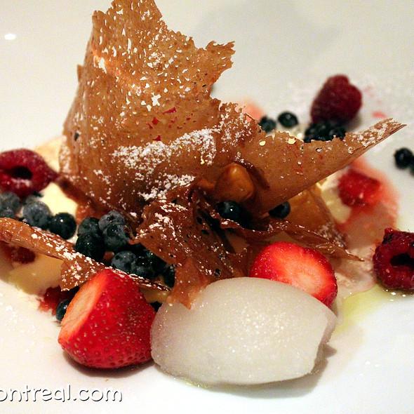 Caramel crisp with wild ginger sorbet and ice cream - Restaurant Toque!, Montréal, QC