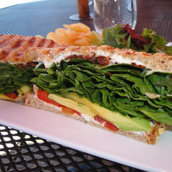 Avocado, Tomato, Spinach, Red Pepper and Fromage Blanc sandwich