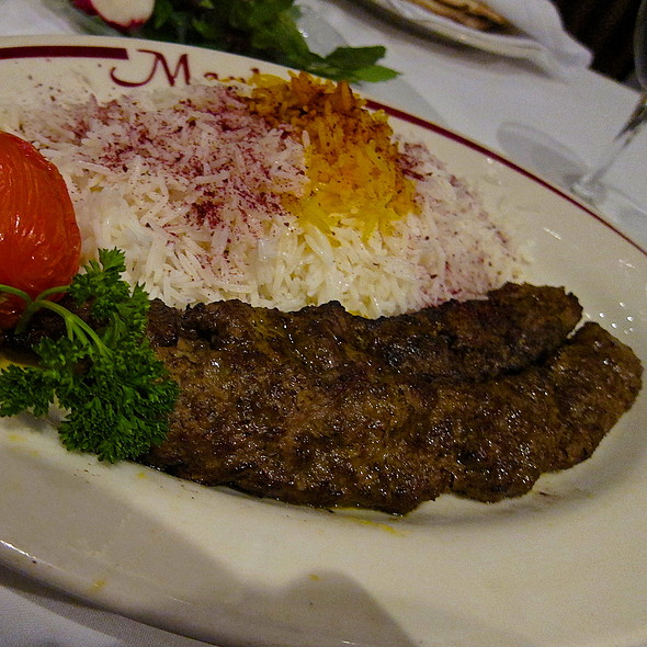 Chelo-kebab Koobideh/ Skewered Combination of Certified Angus Beef & Leg of Lamb <ground daily>/ Onion/ Persian Spices/ Basmati Rice - Maykadeh, San Francisco, CA