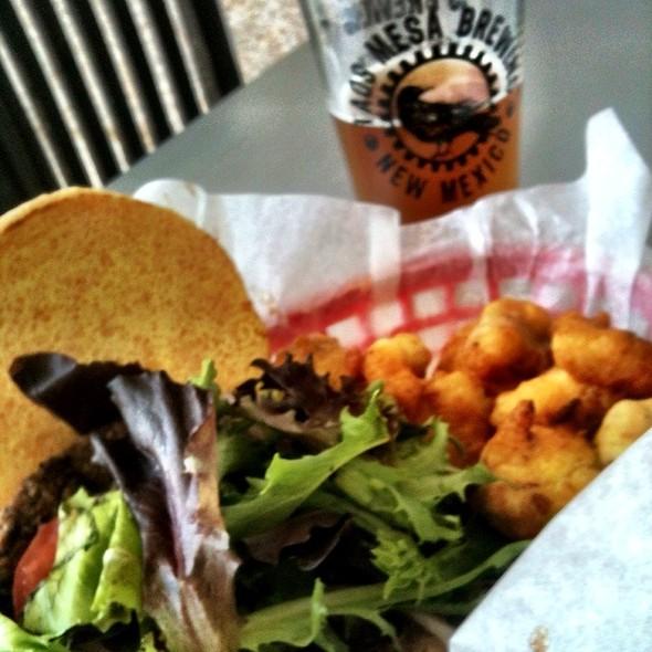 Black Bean Veggie Burger @ Taos Mesa Brewing