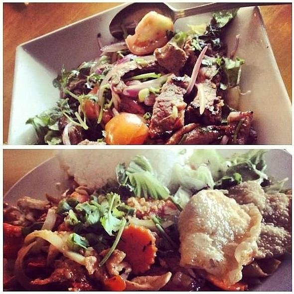 Grilled Beef Salad And Garlic Chicken At Thai Patio Hollywood