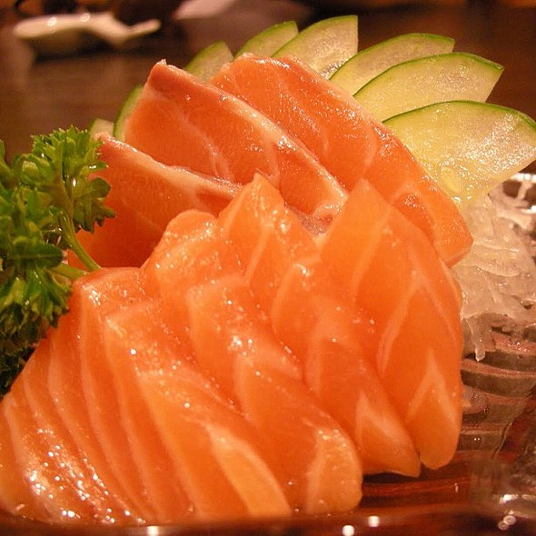 As usual, salmon sashimi for lunch. @ Sumo Sam