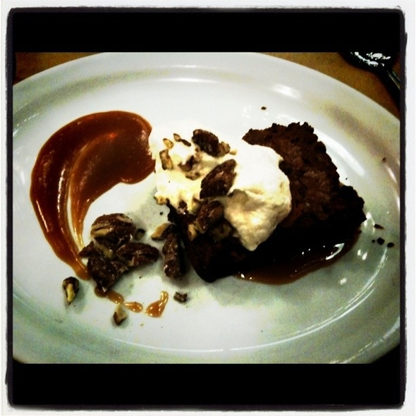 Warm Chocolate Brownie With Butterscotch Sauce, Spiced Pecans & Whipped Cream & @ Il Cane Rosso