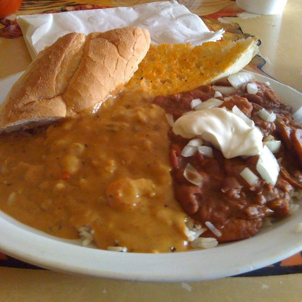 Chili Cheese Etoufe And Red Beans With Sausage @ Yats Restaurant