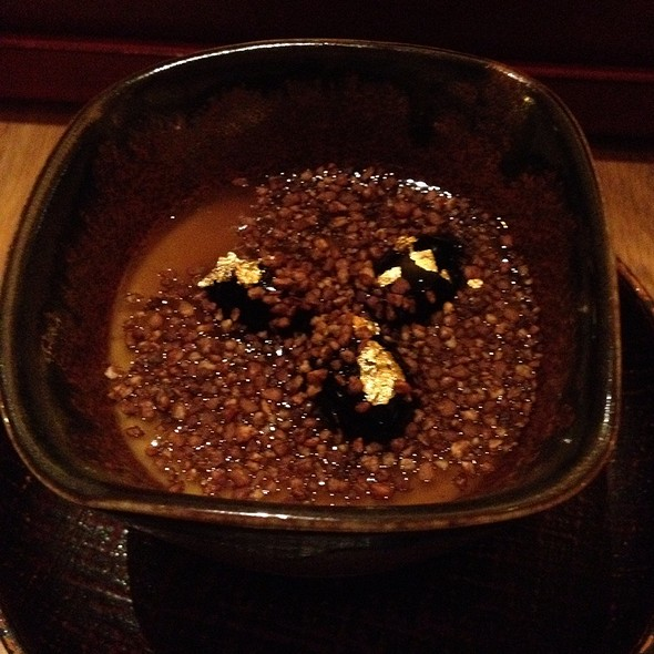 Japanese Roasted Tea Pudding With Gold Leaf Black Beans @ brushstroke