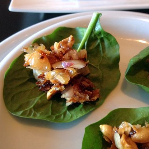 Thai Shrimp and Peanut Appetizer on Spinach Leaves - Soi Gow, San Francisco, CA
