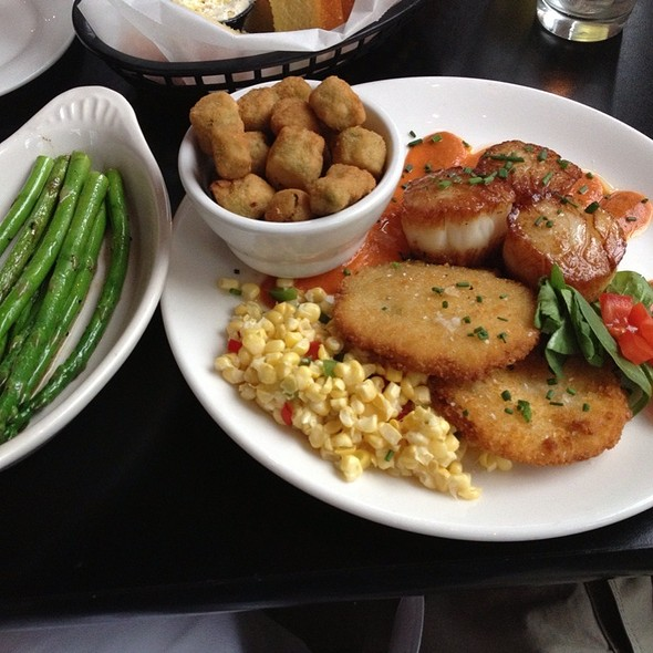 Seared Scallops, Fried Green Tomatoes, Fresh Corn Salsa, Asparagus, Fried Okra