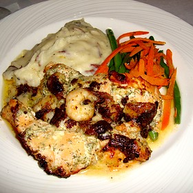 Brie & Shrimp Stuffed Salmon w/ Mashed Potatoes