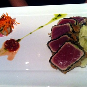 Nori Crusted Tuna, Wasabi Mashed Potatoes, Snow Pea Tendrils & Red Chili Oil
