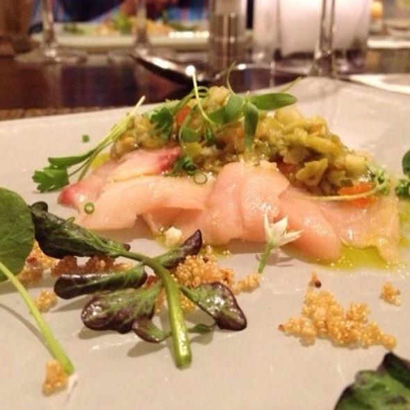 Hamachi Crudo ~ Crispy Amarath Seed • Green Olive Fennel Salsa • Cilantro - Pyramid Restaurant and Bar, Dallas, TX