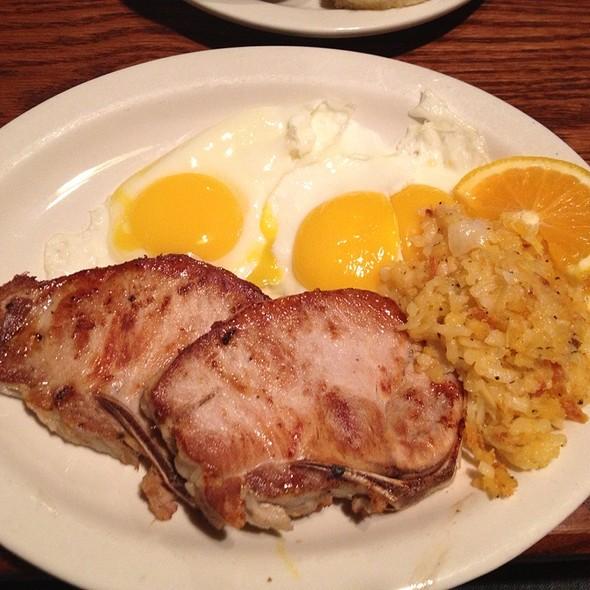 Pork Chops, Sunny Side Eggs, Hash Brown Casserole @ Cracker Barrel