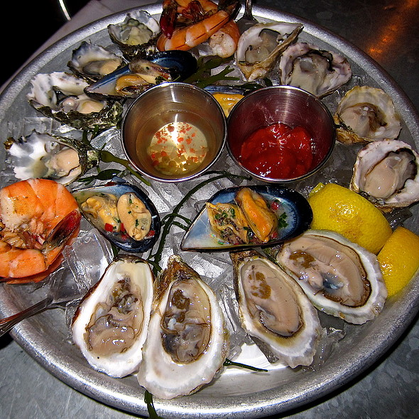 Bespoke Seafood Platter/ Mussels - Washington/ Peal & Eat- Gulf Prawns/ Raw Kumamoto Oysters - Washington/ Raw Miyagi Oysters - Marin/ Raw Effingham Oysters - Vancouver Island @ Bar Crudo