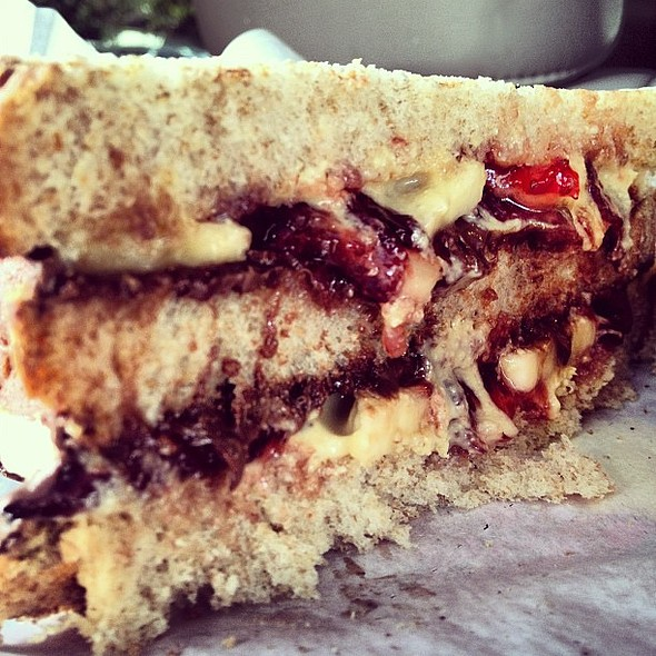 Triple layer peanut butter & jelly sandwich with Nutella and bananas. @ Monster PBJ (Menil Museum)