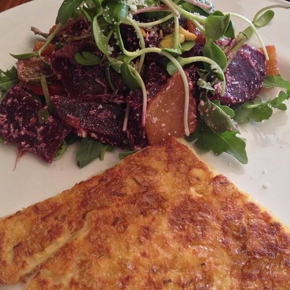 Beet Pistachio Arugula Pea Shoot Salad With Pancake @ Terroni