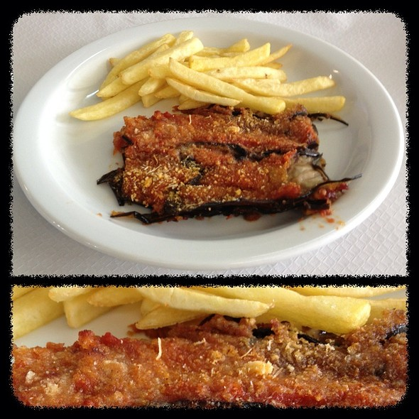 Eggplant Parmigiana And French Fries