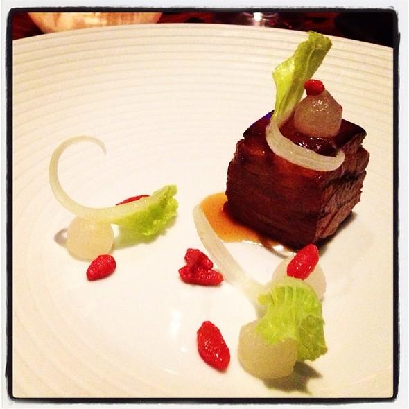 Lamb Belly, Lettuce, Pear, Goji Berry. @ Aziza