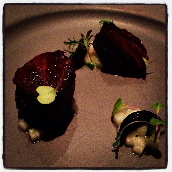 Braised Beef Cheek, Black Garlic, Kohlrabi, Yuzu Glaze. @ Aziza