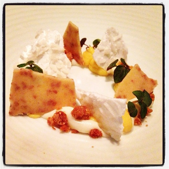 Passionfruit-Ginger Curd, White Chocolate, Nut Sable, Coconut. @ Aziza