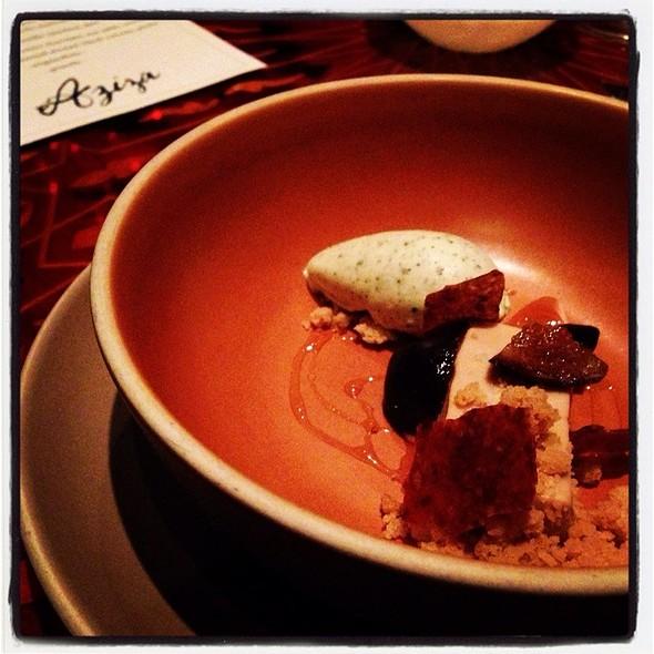 Pecan Crémeux, Fig Leaf Ice Cream, Spiced Honey. @ Aziza