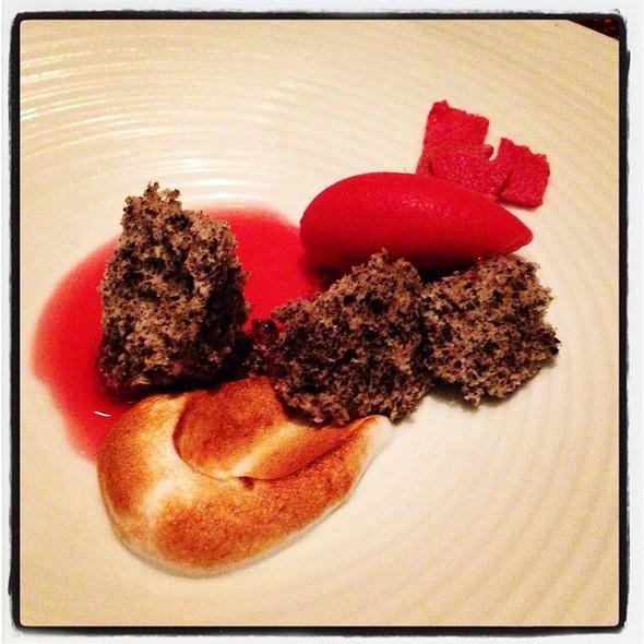 Aziza: Black Sesame Cake, Raspberry Sorbet, Meringue, Hibiscus-Plum Soup. @ Aziza