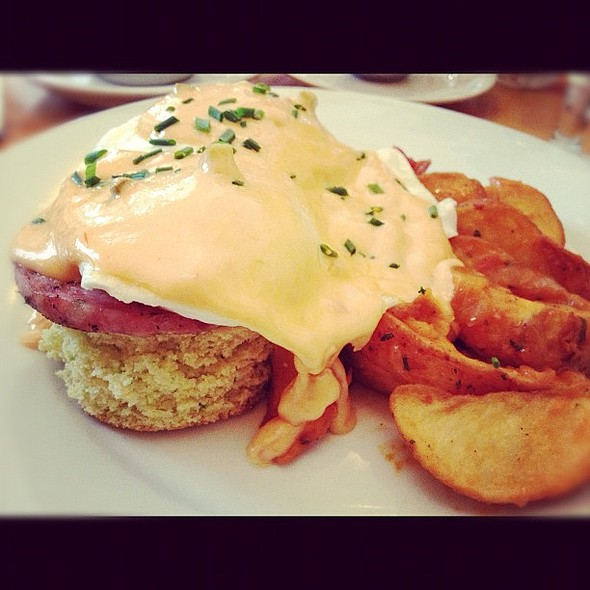 The Boudreaux : jalapeño cornbread, alligator sausage, eggs over easy, remoulade with Crystal potatoes. @ Cafe Atchafalaya