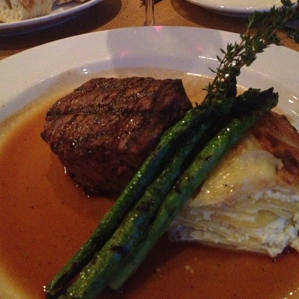 Filet Mignon With Scalloped Potatoes, Mushrooms, And Broccoli @ Nordstrom Northpark Bistro