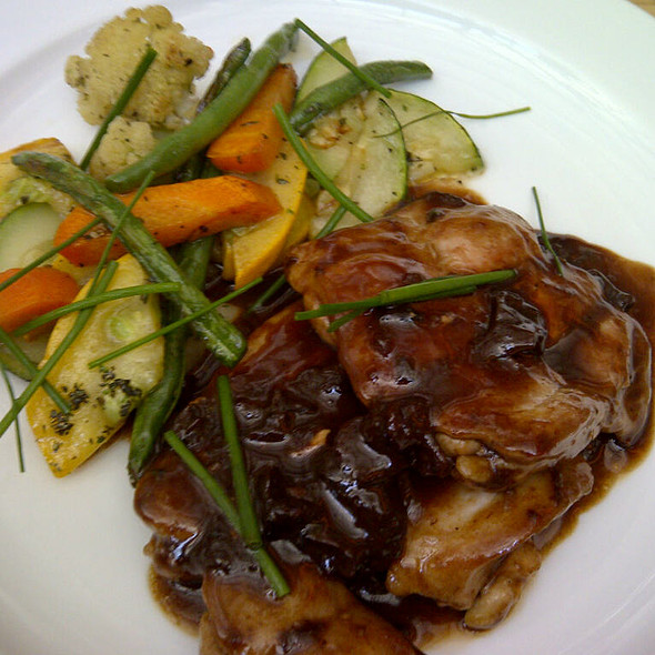 Pan seared chicken leg with sauteed veggies, porcini jus @ Café Zoe Lower Parel