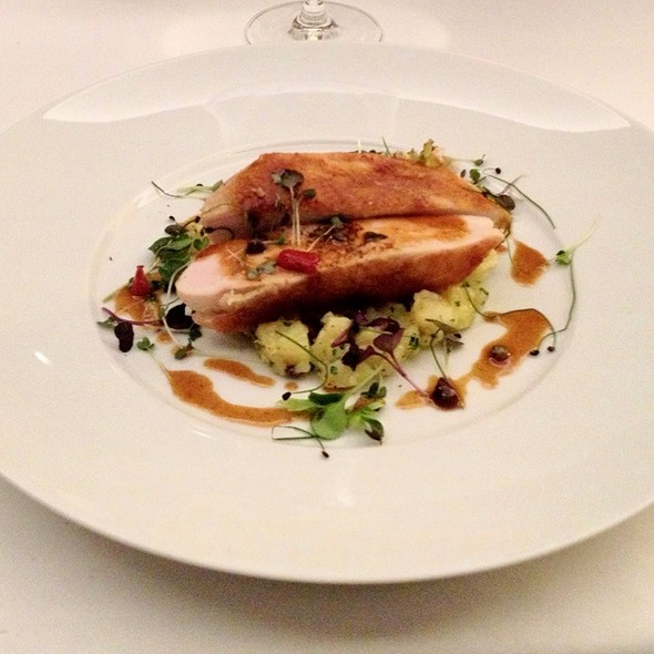 Roasted Chicken Breast, Lemon, Crushed Potatoes & Black Olives @ Il Ristorante, Bulgari Hotel